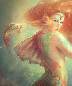 Digital Paintings by Spanish digital artist Marta Nael. From a very young age, Marta Nael showed extraordinary aptitudes regarding drawing and painting. Fantasy Mermaids, Mermaids And Mermen, Fantasy Creatures, Mythical Creatures, Mythological Creatures, Fantasy World, Fantasy Art, Merfolk, Mermaid Art