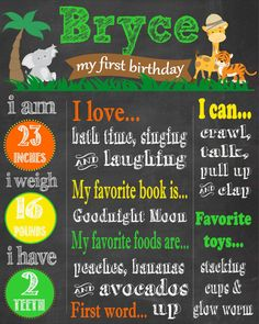 Safari Jungle Themed First Birthday Chalkboard Poster- Safari Birthday Party- Safari Animals Safari Theme Birthday, Safari Party, Baby 1st Birthday, Birthday Board, First Birthday Parties, Birthday Party Themes, First Birthdays, Birthday Ideas, First Birthday Chalkboard