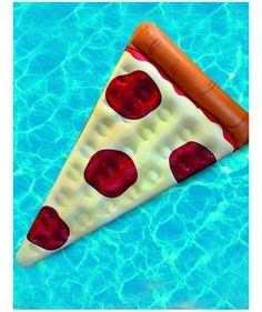 Float on a giant pizza slice!! The Big Mouth Toys Giant Pizza Float Inflates to 5' long and made of durable vinyl so you can spend your lazy days floating on melted cheese and pepperoni minus the calories.