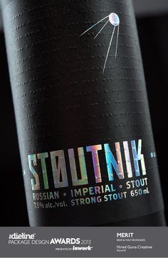 Longwood Brewery approached us to create unique brands for each of their beers.We created the name Stoutnik for their Russian Imperial Stout. It seemed a fitting choice for a beer as dark as space itself.The packaging design features a matte black bot… Wine And Liquor, Wine And Beer, Chocolates, Beer Images, Craft Bier, Beer Label Design, Bottle Packaging, Coffee Packaging, Food Packaging