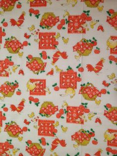 Beautiful Vintage Fabric with chickens by KoopsKountryKalico, $7.99