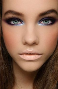 Blue eye liner, lavender eye shadow, nude lips. Gorgeous! // Image: Seventeen Magazine #bride #beauty