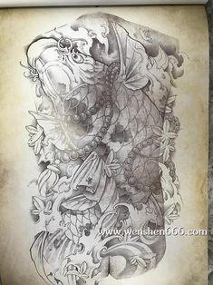 满背招财鲤鱼枫叶纹身手稿