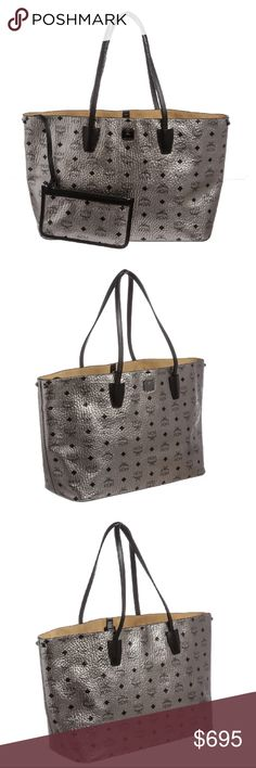 MCM Silver Gray Visetos Canvas Tote Handbag Crafted out of silver gray metallic visetos coated canvas, dual flat handles, gunmetal tone hardware. Inner beige felt lining, lobster clasp closure at top, and detachable pochette with zip top closure.   5382MSC MCM Bags Totes