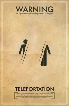 Fringe Inspired Mad Scientist Warning Poster // Teleportation // 11x17 Minimalist Vintage Print. $18.00, via Etsy.
