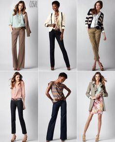 Looks We Love: Business casual options, I wish I could send this as an anonymous email to all college women I know who are starting out in their professional jobs!! I can't stress enough to the younger generation that Leggins/Jeggins are NOT business casual!