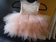 Tan top/ blush skirt 'Tiffany' flower girl dress/