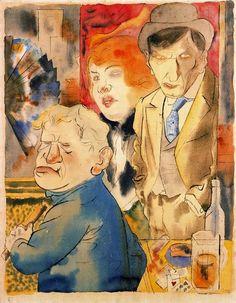 George Grosz (1893-1959) Hij stelde op karikaturale wijze het militarisme, de schijnheilige burgerlijke moraal en de ontreddering in de grootstedelijke samenleving aan de kaak, de schrijnende contrasten in de Weimarrepubliek: vette burgers en werklozen, rechters en prostituees, priesters en moordenaars, generaals en arme soldaten. De stijl is elementair en bijtend . Vanwege het nietsontziende realisme wordt zijn werk tot de Nieuwe Zakelijkheid gerekend.