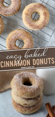 Baked Cinnamon Donuts will make everyone smile on a fall morning! Not only is this breakfast idea easy to make, but it is also ridiculously delicious. Kids and adults will love these simple homemade treats made with a spiced donut batter and coated in cinnamon sugar! Easy No Bake Desserts, Easy Baking Recipes, Healthy Dessert Recipes, Apple Recipes, Vegan Recipes Easy, Kitchen Recipes, Fun Desserts, Amazing Recipes, Cinnamon Sugar Donuts