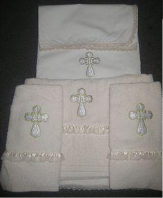 one sheet, one lg towel, two sm towels - $129 Greek orthodox christening oil / towel set