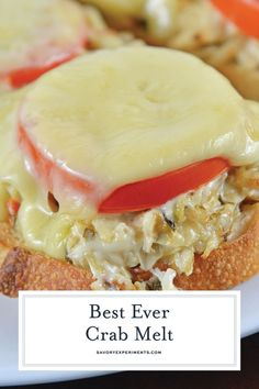 This Crab Melt will become your favorite open faced sandwich recipe! Deliciously… This Crab Melt will become your favorite open faced sandwich recipe! Deliciously cheesy and easy to make! Crab Pasta Recipes, Fish Recipes, Seafood Recipes, Cooking Recipes, Spinach Recipes, Salad Recipes, Cooking Tips, Diabetic Recipes, Amigurumi