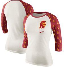 USC Trojans Women's Veer Pattern Tri-Blend 3/4-Sleeve Raglan T-
