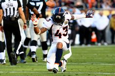 Broncos Defense Stymies Panthers, Denver Wins Super Bowl 50:     T.J. Ward #43 of the Denver Broncos reacts after a play against the Carolina Panthers during Super Bowl 50 at Levi's Stadium on February 7, 2016 in Santa Clara, California. (Photo by Ronald Martinez/Getty Images)