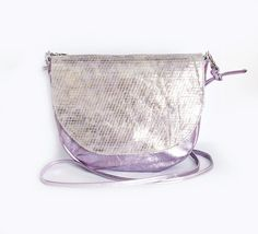 Lavender Leather Saddle Bag Mermaid Crossbody Bag by gmaloudesigns