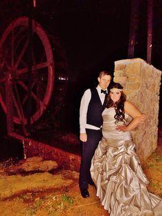 Beautiful married couple! #nightwedding #bridalmakeup #weddingphotography #bridalhair #bohemian #pinkpewter #headband #handsomegroom #weddinghair #weddingmakeup #brideandgroom #beautifulbride #longhair #bridalphotography #waterwedding #rusticwedding #weddingdress