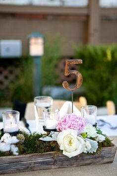 Head Table! Rustic wooden box with flowers and candles-no table number