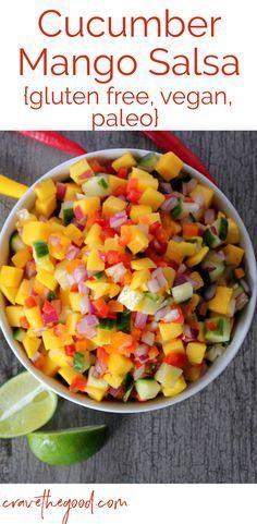 Cucumber Mango Salsa | A delicious, easy, and refreshing salsa perfect for hot summer days! {gluten free, vegan, paleo} | cravethegood.com