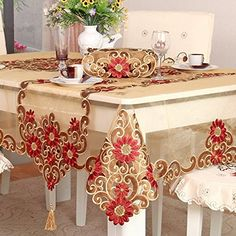 Buy Ustide European Style Table Cloth Rustic Floral Pattern Tablecloth For Christmas Hand Embroider Flower Table Decoration by Joonan