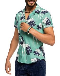 Scotch & Soda Palm Trees Slim Fit Button Down Shirt | Bloomingdale's