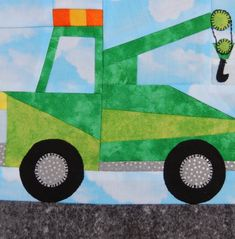 Foundation paper pieced wrecker or tow truck vehicle PDF quilt block pattern…