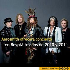 """La banda estadounidense Aerosmith dará un concierto en Bogotá el 29 de septiembre en el marco de su gira de despedida """"Rock N' Roll Rumble Aerosmith Style 2016"""", informaron hoy los promotores.  Leer más enhttp://miradas.com.ve/web/index.php/92-actualidad/129-aerosmith-en-bogota"""