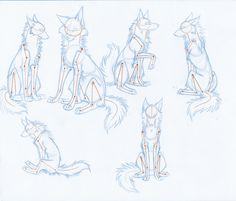 Wolf sitting poses