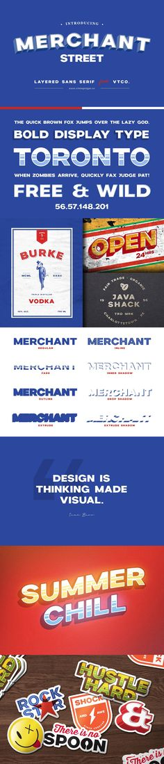 Merchant Street Sans is a big, bold, all caps sans serif that comes in a family of 8 stackable #fonts. The concept comes from old hand-painted signage & facades and is the perfect font choice for sign painters. ( #typography #lettering #branding #typeface #vintage #logodesign )