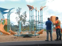 New Innisfil Beach Park playground unveiled. Designed & installed by ABC Recreation. Landscape Structure, Park Playground, Playgrounds, Long Weekend, Beach, Design, Design Comics, Play Area Outside