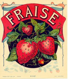 Old French label strawberries