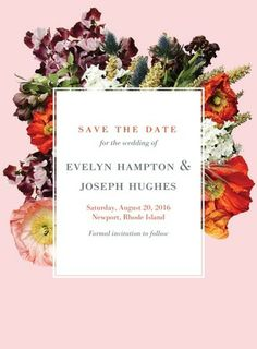 Boundless Blossoms - Signature White Save the Date Cards - BHLDN - Boysenberry - Purple : Front