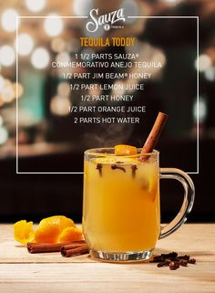The warm and inviting Sauza® Tequila Toddy is your new snuggle buddy for those chilly fall nights. The dark flavors of bourbon mingle with honey and citrus for a truly unique cocktail experience. More recipes can be found at us.sauzatequila.com.