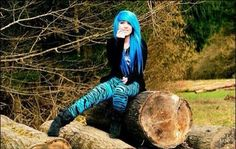emo girl blue hair with cute   clothes
