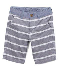 Navy Textured Stripe Shorts - Boys