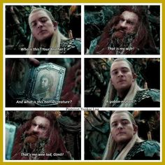 The Hobbit: The Desolation of Smaug Little does legolas know that the wee lad gimli would be his best friend...:)