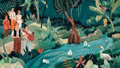 Ilustración en el primer capítulo de 'Cien años de soledad', realizada por Luisa Rivera