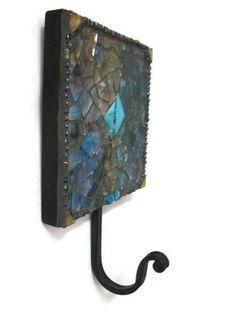 Key Holder Mosaic Wall Hook Hanger Metal by MosaicMargalita, $25.00