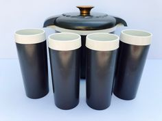 Excited to share this item from my #etsy shop: Vintage, GITSware, Black Therma 6 Piece Set in Original Box, Never Used, Ice Bucket Set includes Black Thermal Ice Bucket, 4 Tumblers, Tongs #black #white #plastic #gitswareset #vintagethermaset #icebucketset #vintagetumblers #vintageicebucket #rarethermaset Ice Tongs, Kitchen Hutch, Chip And Dip Bowl, Vintage Cowgirl, The Fragile, Vintage Colors, Wooden Signs, Bowl Set, Tumblers
