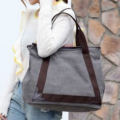 Casual Women Canvas Patchwork Handbag Shoulder Bags Tote Bag