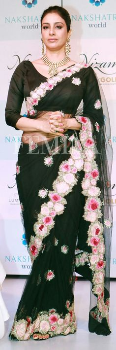 Tabu in black saree