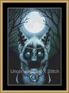 Big cat mooncat gemstone cross stitch pattern - Moonstone mini - modern counted cross stitch pattern Maquenda Licensed by UnconventionalX on Etsy