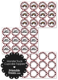 Printable Black Monster Truck Cupcake Toppers from PrintableTreats.com