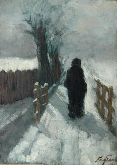 Figure in the snow by Eduard Frankfort (Dutch 1864-1920)