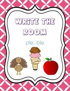 Included:16 ple& ble cards with pictures and words:-8 ple cards: purple, apple, people, ripple, triple, crumple, example, staple-8 ble cards: table, fable, gobble, marble, bubble, bumble, scrabble, dribble2 Write the Room recording sheetCheck out my store for LOTS of write the rooms!Don't forget to rate me!