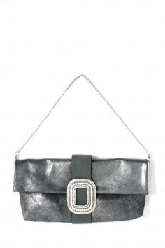 Pignarea bag - Ginevra. Shiny silver leather shoulder bag / hand clutch bag, removable chain, fully lined in emerald green, little open pocket inside. Black nabuk leather bandage in the middle with silver swarovski squared jewel in front. Ideal bag for an party, or for an elegant evening. Pignarea Fall Winter Collection 2013-2014.  Height: 21 cm; width: 41 cm; Chain lenght approx: 74 cm.