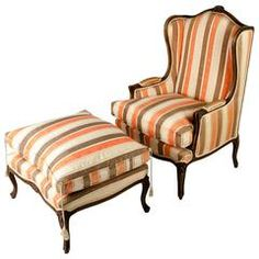 Inspirational Mid Century European Bergere and Ottoman Chair