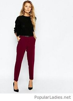 Black blouse and pumps with burgundy pants