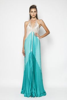 CHRISTOS COSTARELLOS SS12 Maxi Pleated Dress with low back Christos Costarellos, Fashion Outfits, Womens Fashion, Tie Dye Skirt, Ready To Wear, Spring Summer, Formal Dresses, House Styles, Skirts