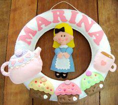 Alice in Wonderland Felt Wreath Tea Party