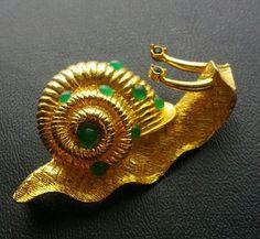 Signed Hattie Carnegie Vintage Brooch Pin Snail Figural Gold Tone Rhinestone | eBay