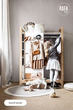 This gorgeous wardrobe has unique sliding doors saving space in your child's room. Display favourite outfits on the special shelves. Made of first-class Finnish plywood. Sustainably sourced. Produced in Europe. Dream Furniture, Home Furniture, Furniture Design, Felt Cushion, White Laminate, Teen Bedding, Modern Wardrobe, Small Shelves, House Design